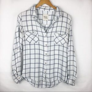 Thread & Supply White and Black Soft Flannel Shirt